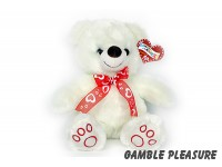 Plush bear with red heart bow 30cm